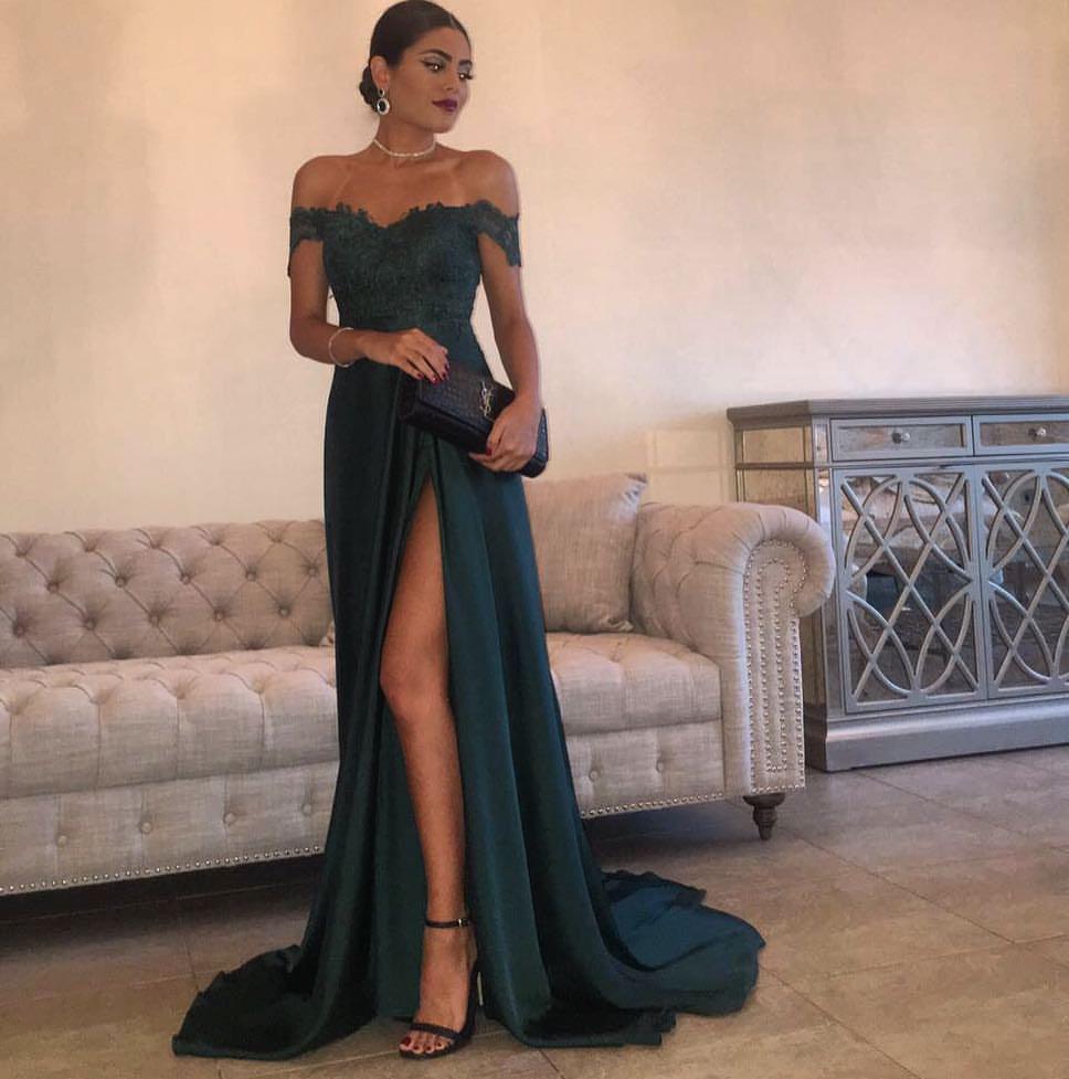 A Line Navy Green Chiffon Prom Dress, High Split Side Slit Lace Top ...