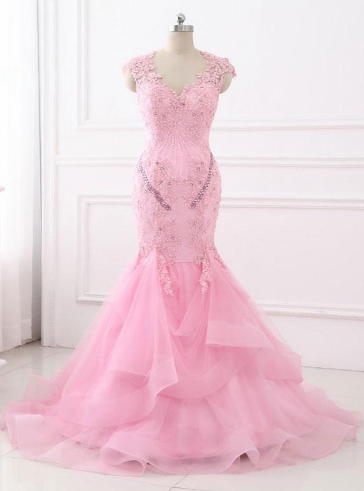 Cheap Prom Dresses by SweetheartDress · Gorgeous pink tulle V neck ...
