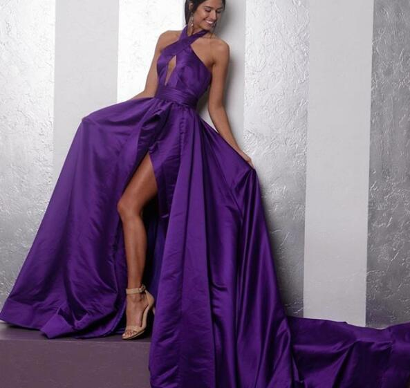 Sexy A Line Prom Dress Dark Purple Evening Dress Halter Long Prom