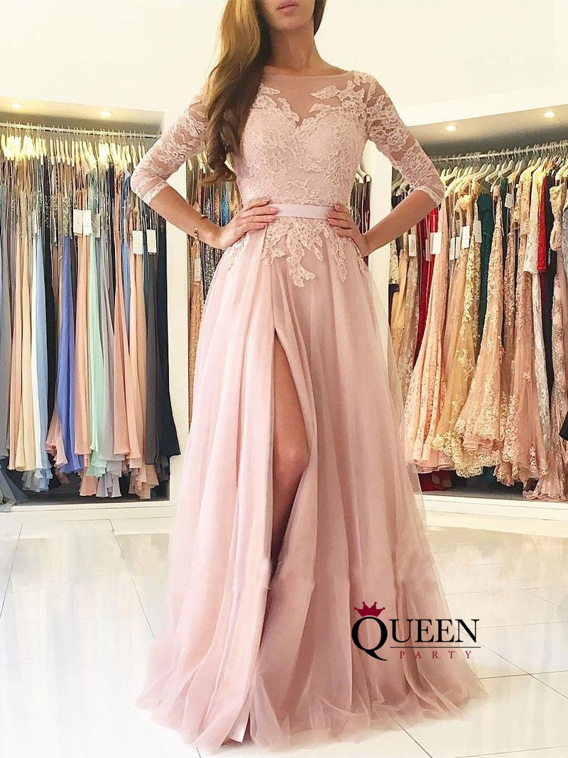 Dusty Pink Lace Long Sleeves Tulles Prom Dress 34 Sleeves Formal