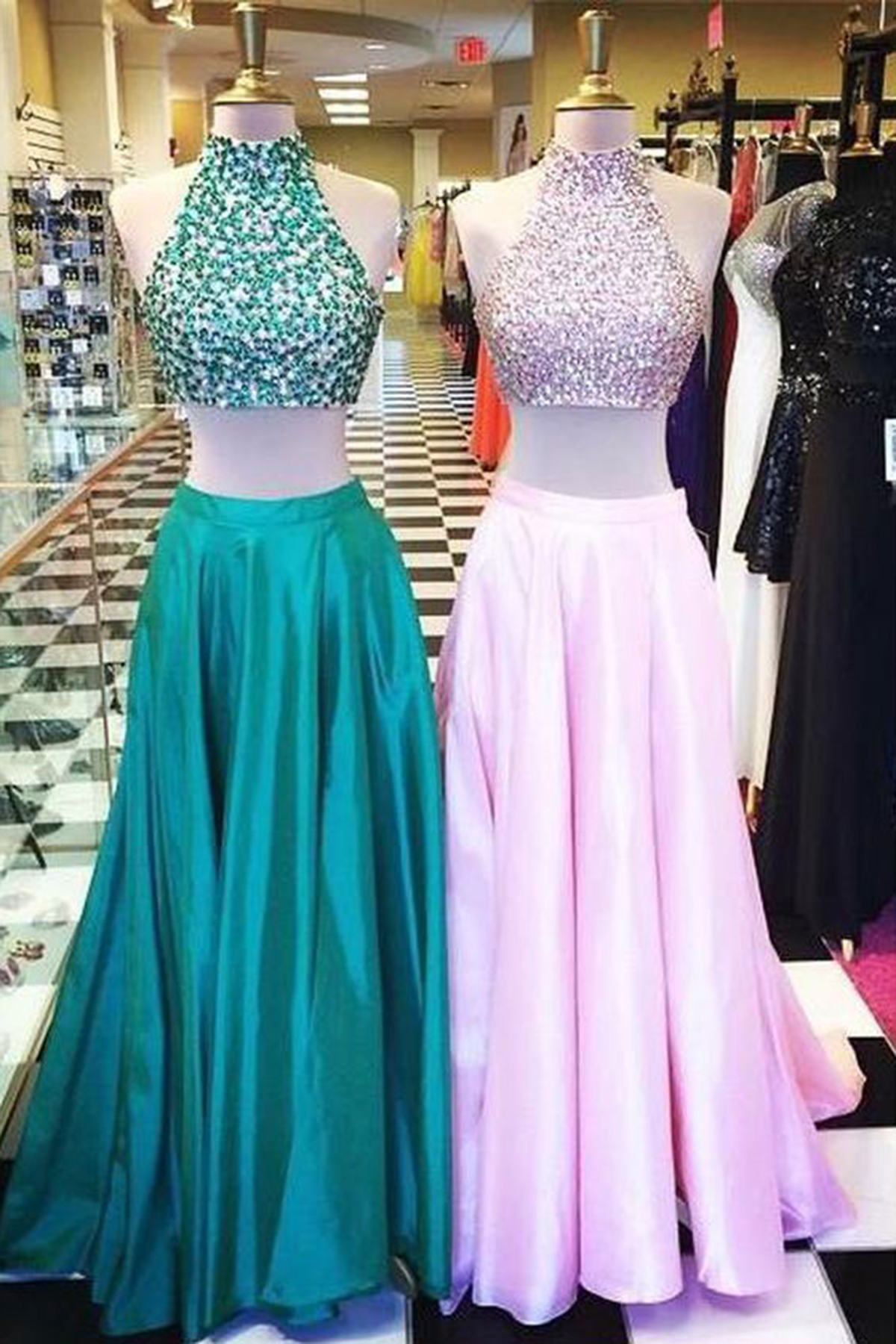 Cute green pink satin two pieces sequins high neck long prom dresses ...