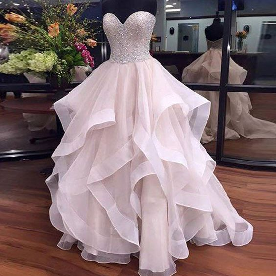 SWEETHEART BEADED HIGH LOW BALL GOWN PROM QUINCEANERA DRESSES ...