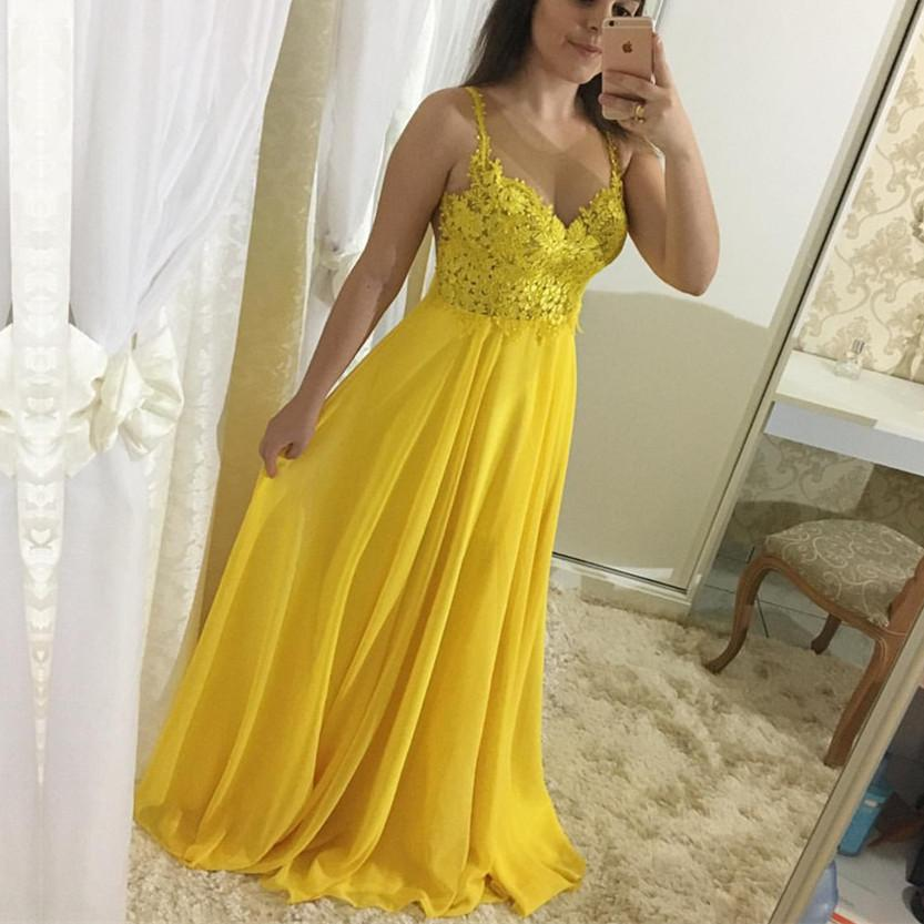 Elegant Appliques A-Line Yellow Prom Dresses,Long Prom Dresses,Cheap ...