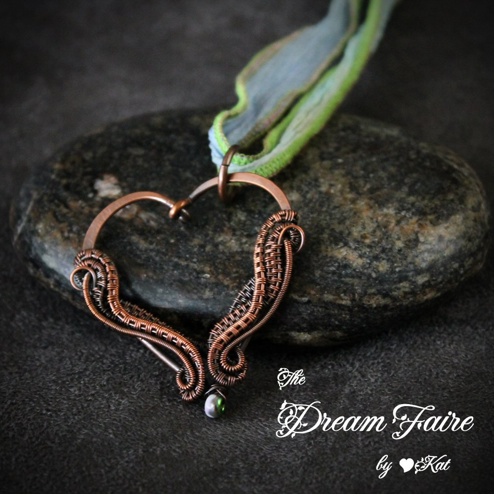 The Dream Faire · Funky Heart - Seed Bead and Woven Wrapped Copper ...