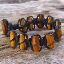 Black Hemp Macrame Carved Horn Bead Bracelet