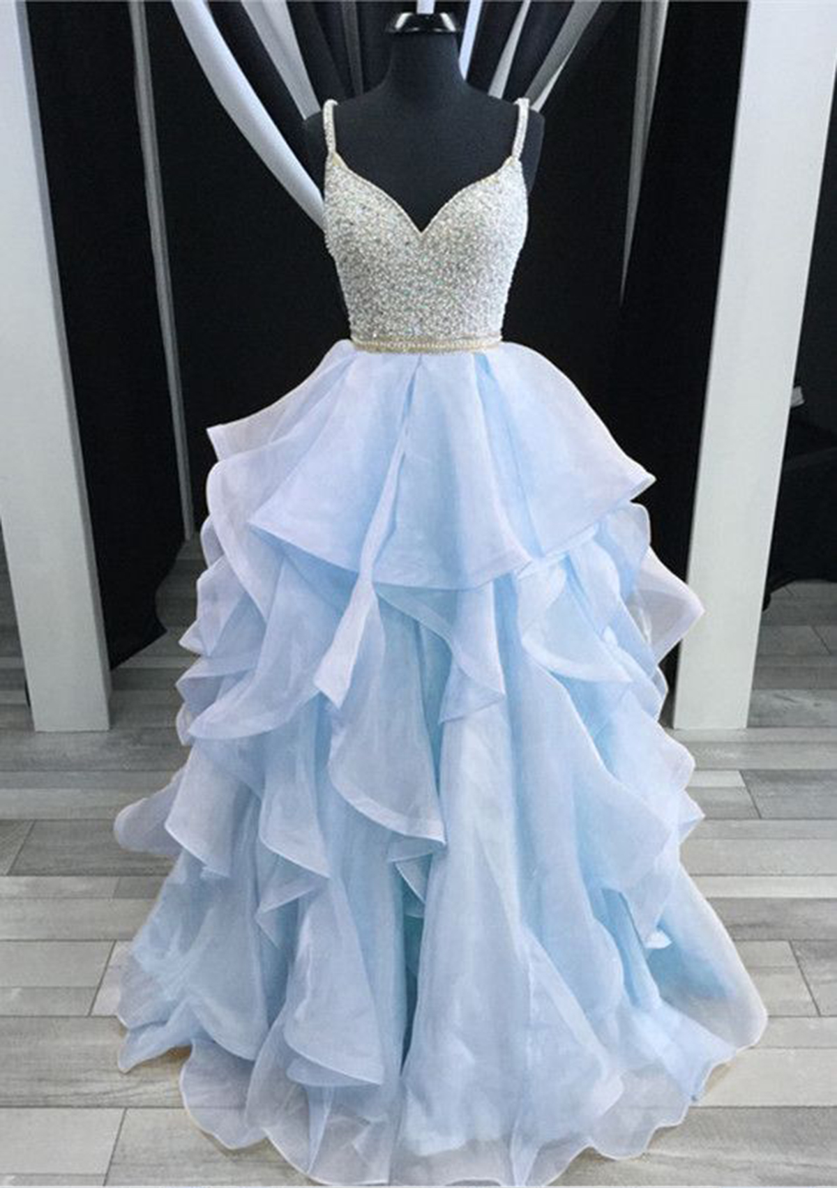 Cheap Prom Dresses by SweetheartDress · Light blue tulle open back ...