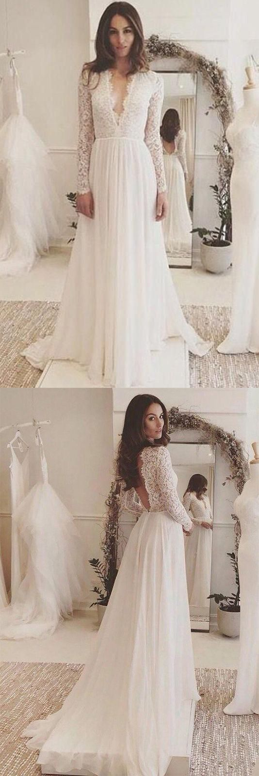 Elegant White Wedding Dress,Chiffon Long Sleeves Bridal Dress,Lace Open Back Wedding Dress from LovePromDresses