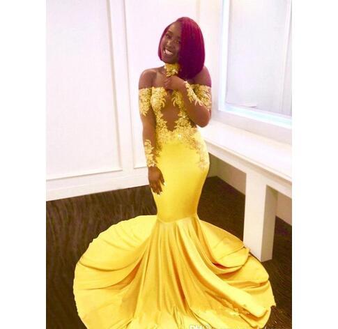 2018 Black Girls Yellow Off Shoulder Satin Mermaid Prom Dresses ...