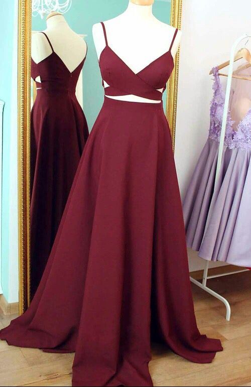 Burgundy Two Pieces Long Prom Dress Cheap Simple Satin Occasion