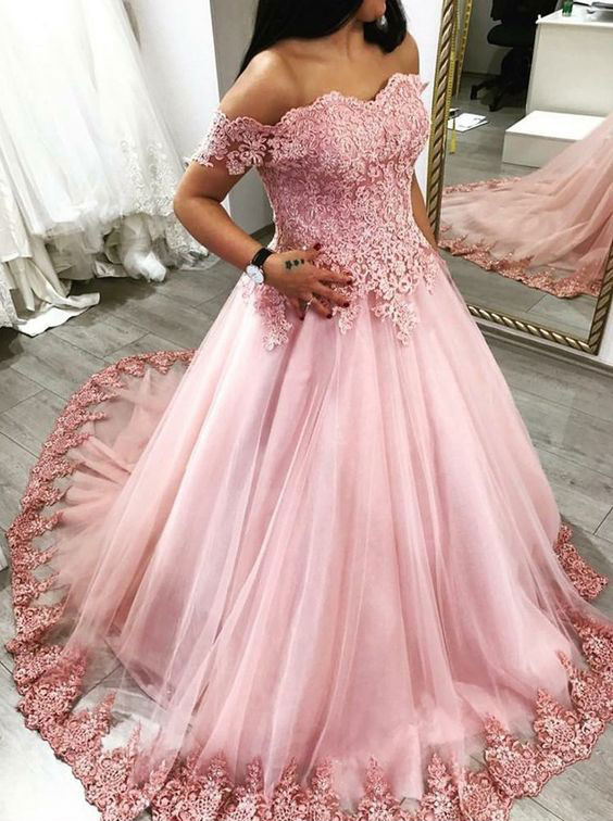 Pink Off the Shoulder Ball Gowns Prom Dress Birthday Dress Evening ...