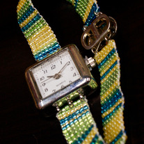 Spring Colors Beaded Band Analog Watch