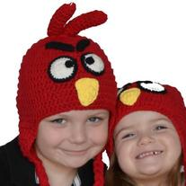 On Sale Childrens Handmade Crochet Childrens Red Bird Hat