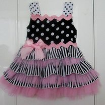 ON CLEARANCE SALE Spunky Kids Brand Layer Dress Black and Pink