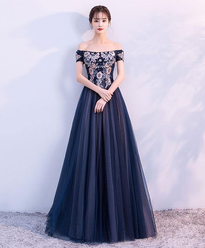 A line tulle off shoulder long prom dress, evening dress G266 ...