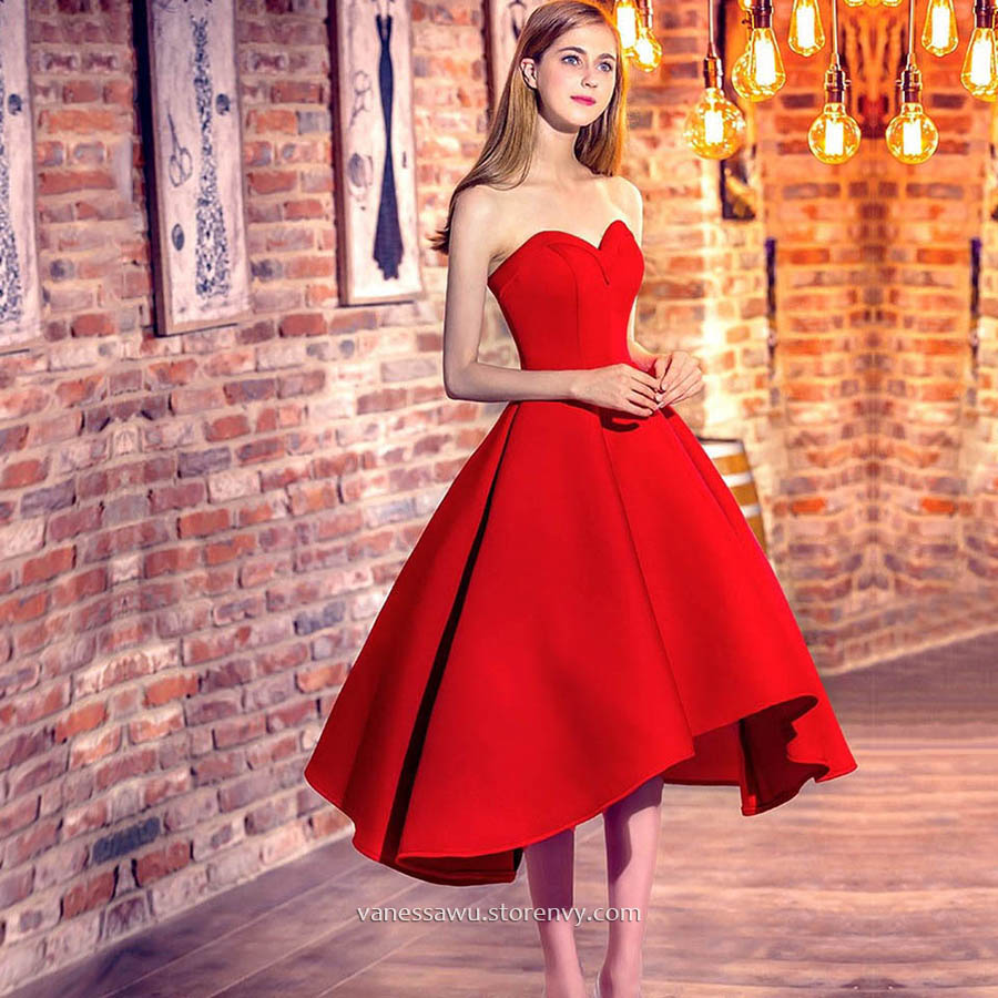 High Low Prom Dresses,Red Princess Sweetheart Formal Dresses ...