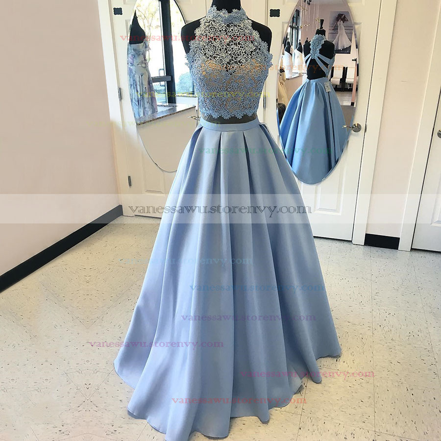 Two Piece Prom Dresses,Princess High Neck Long Prom Dresses,Lace ...