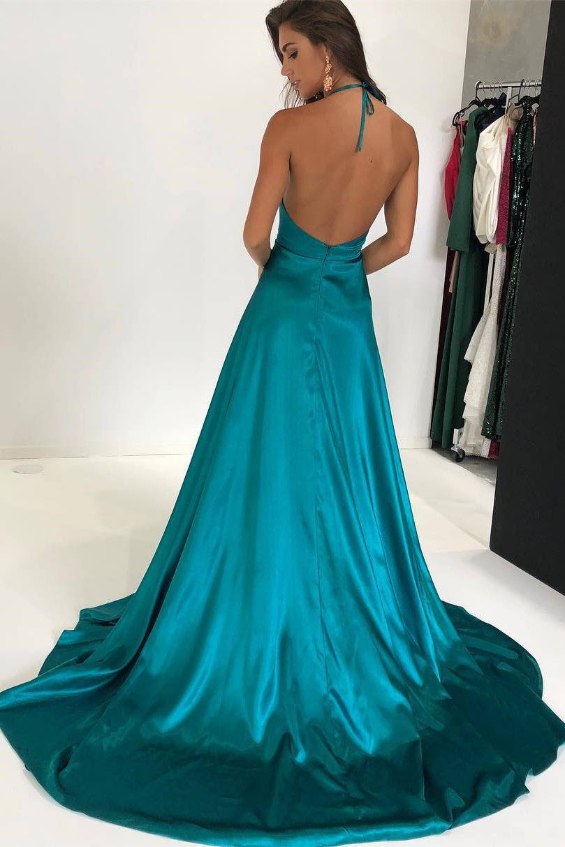 Sexy Halter Deep V-Neck Split Long Prom Dress,Sweep Train Evening ...
