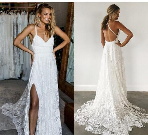 simple elegant lace beach wedding dresses crisscross back sexy rose lace ivory beach bridal gowns