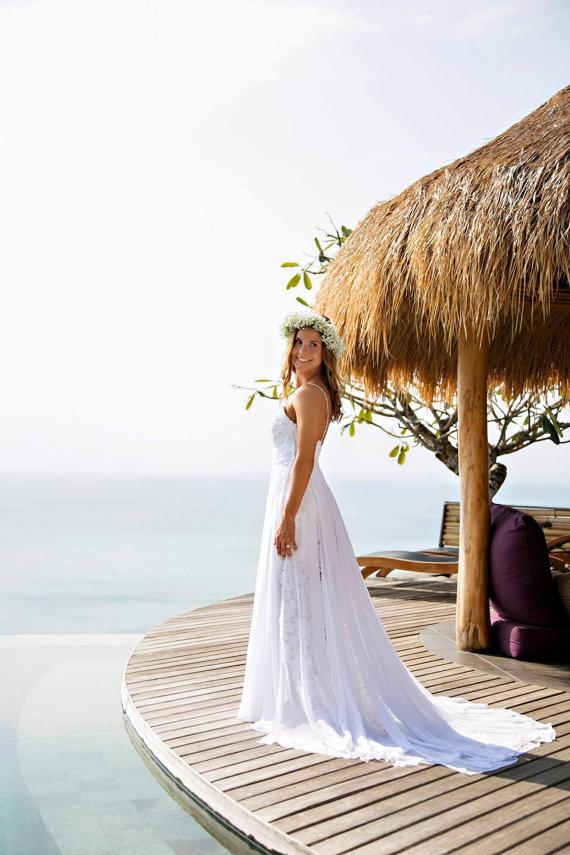 2018 Beach Wedding Dress, French Lace Love Wedding Dress Romantic ...