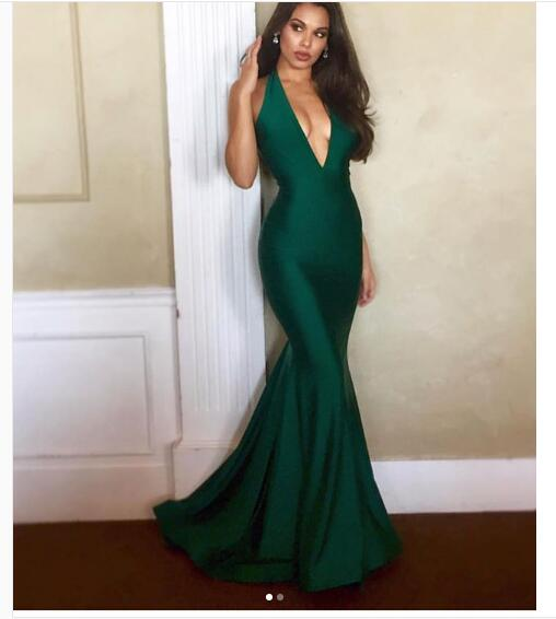 2018 Sexy Emerald Green Prom Dress Mermaid Halter Long Prom Dress