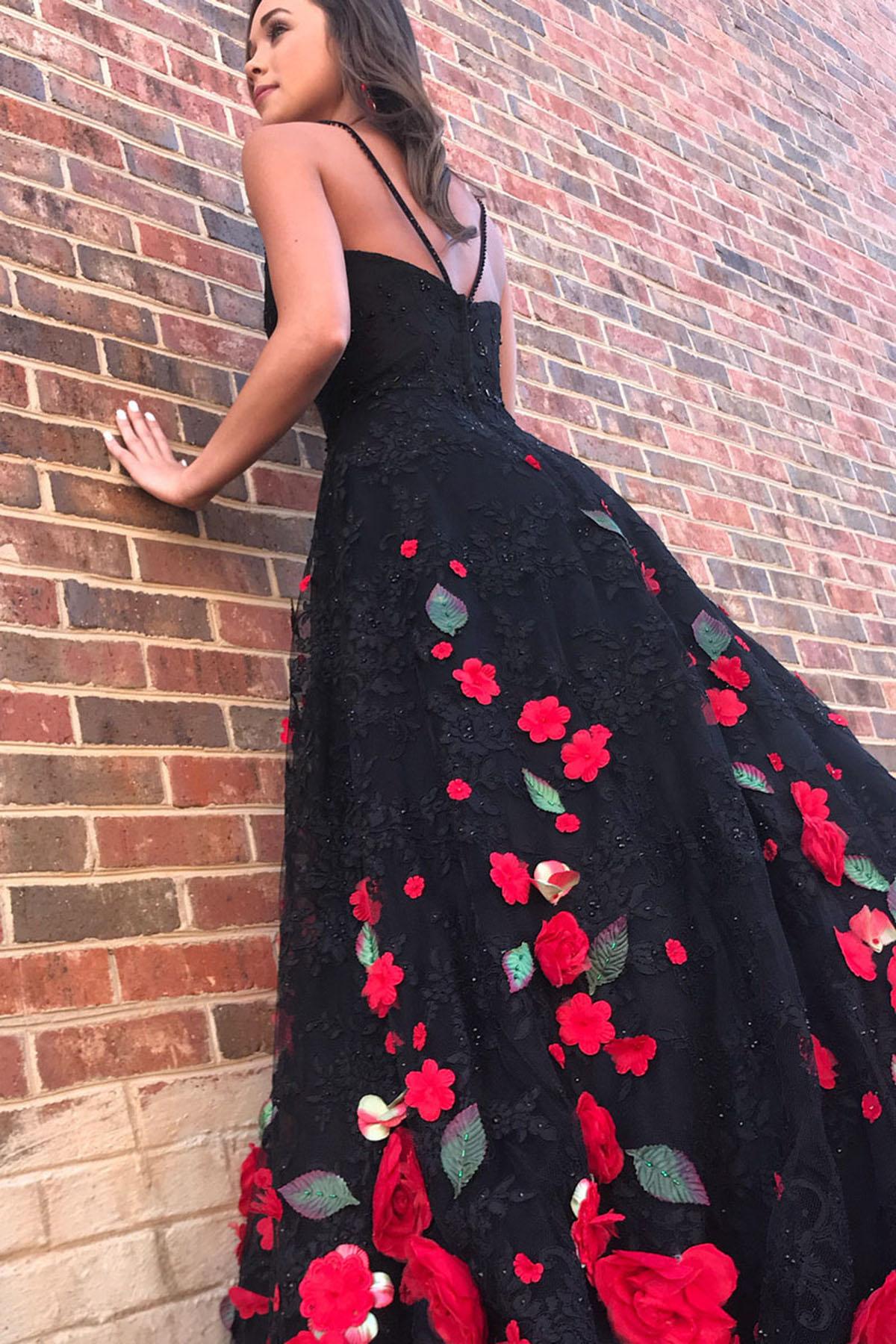 Gorgeous black flower lace long customize prom dress, black evening ...