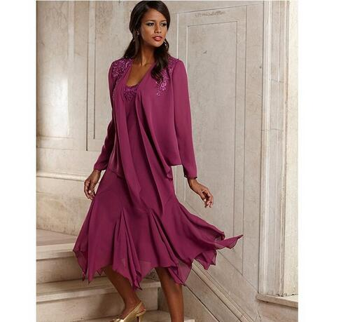 Vintage Elegant Chiffon Plus Size Mother Of The Bride Dresses With ...
