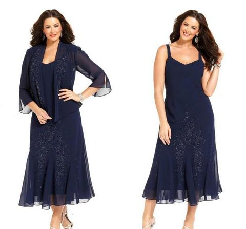 Dark Navy Chiffon Tea Length Plus Size Mother of the Bride Dresses ...