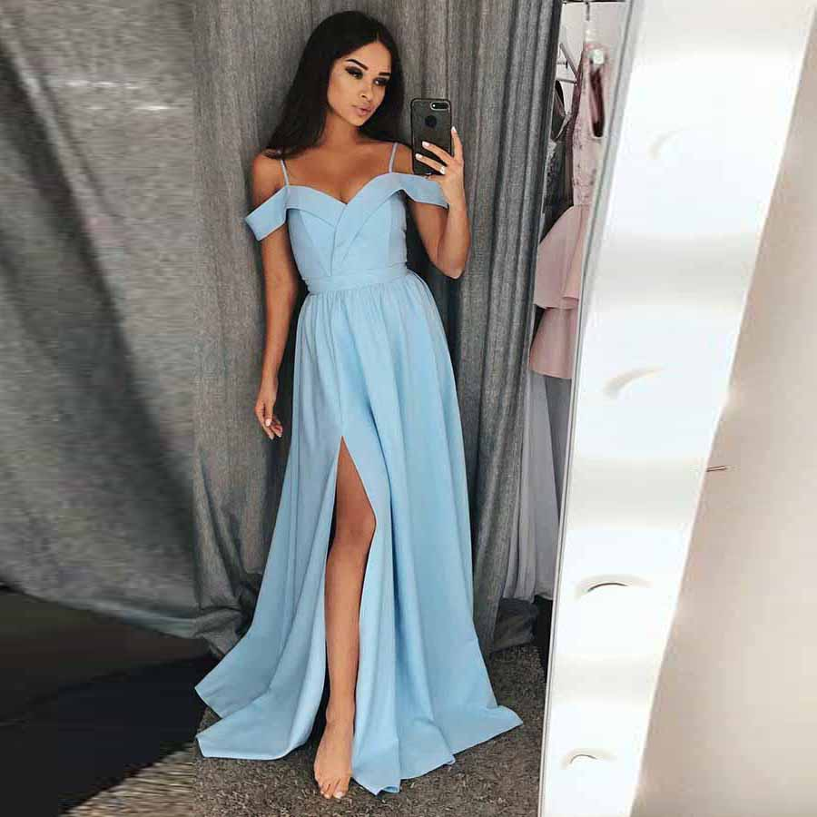 Baby Blue Prom Dress Off The Shoulder Long Formal Evening Gown With ...