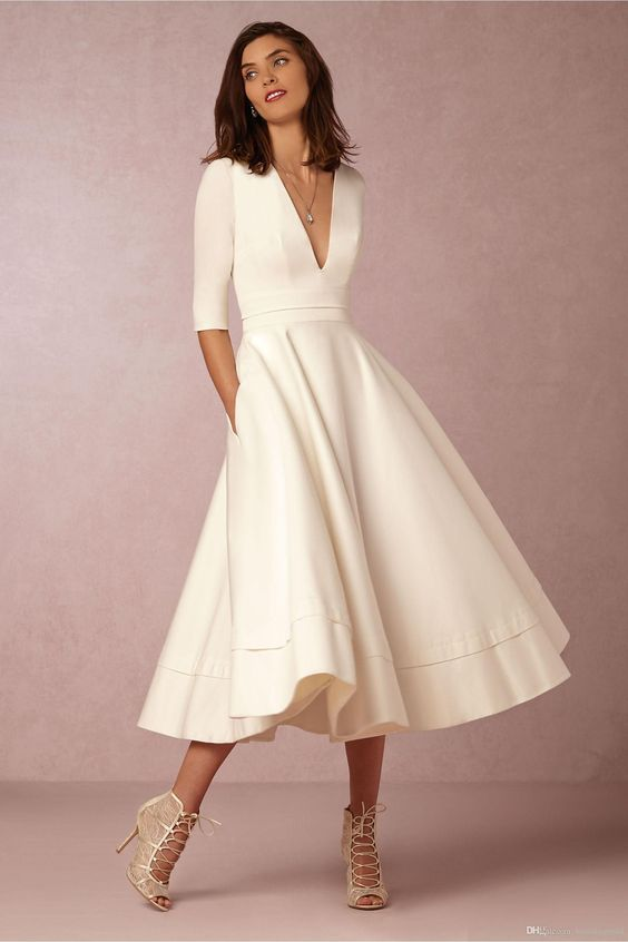 Long Sleeve V Neck Swing Vintage Wedding Dress White Casual Dress With Sleeves White Prom Evening Gown Flosluna Online Store Powered By Storenvy,Attractive Beautiful Simple Wedding Dresses Pakistani