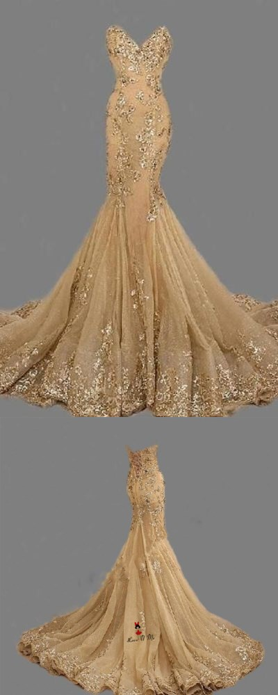 Fashion Sexy Gold Sweetheart Long Prom Dresshandmade Gold Formal