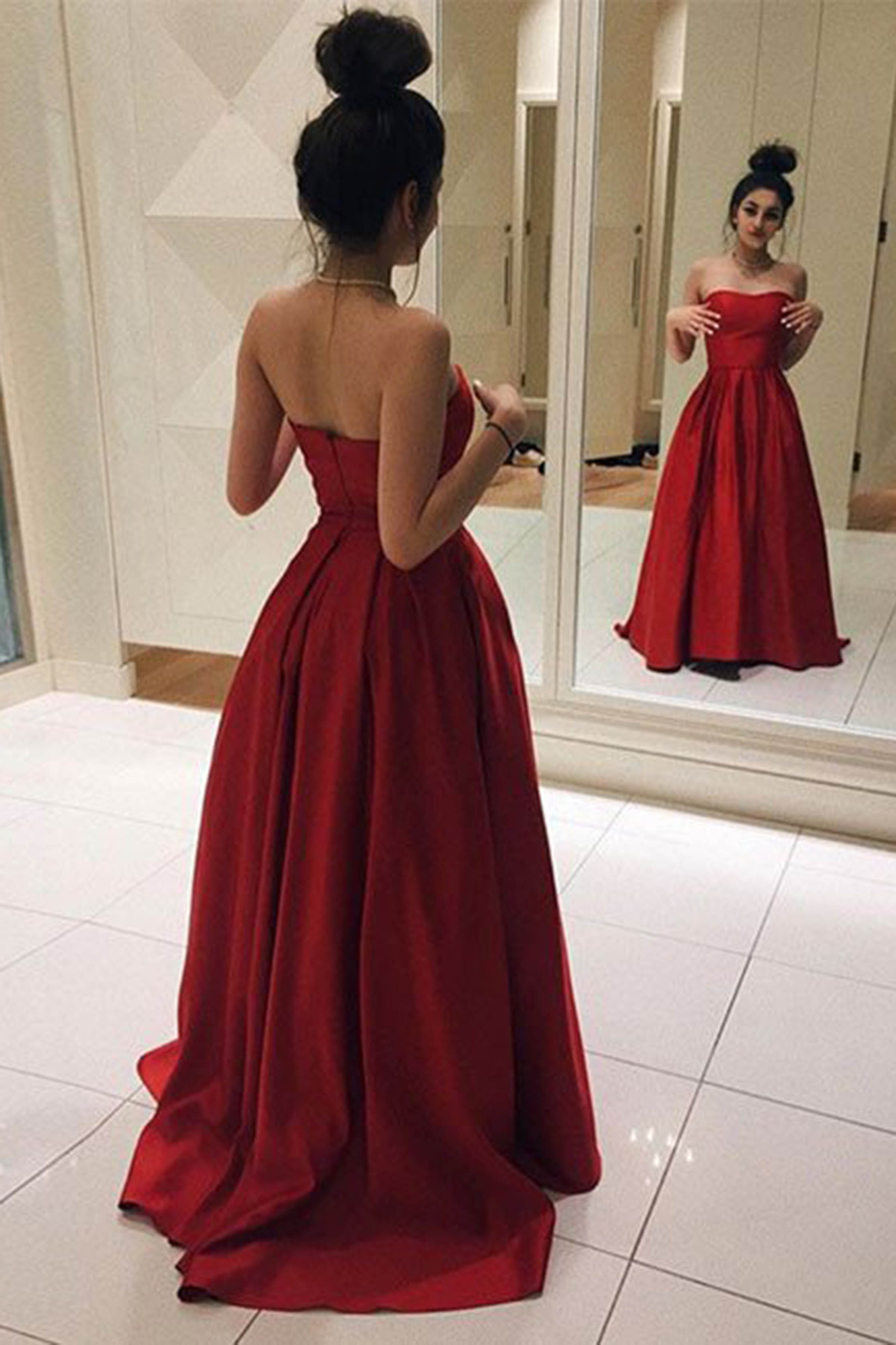 Red satin long prom dress, simple strapless red evening dress,364 ...
