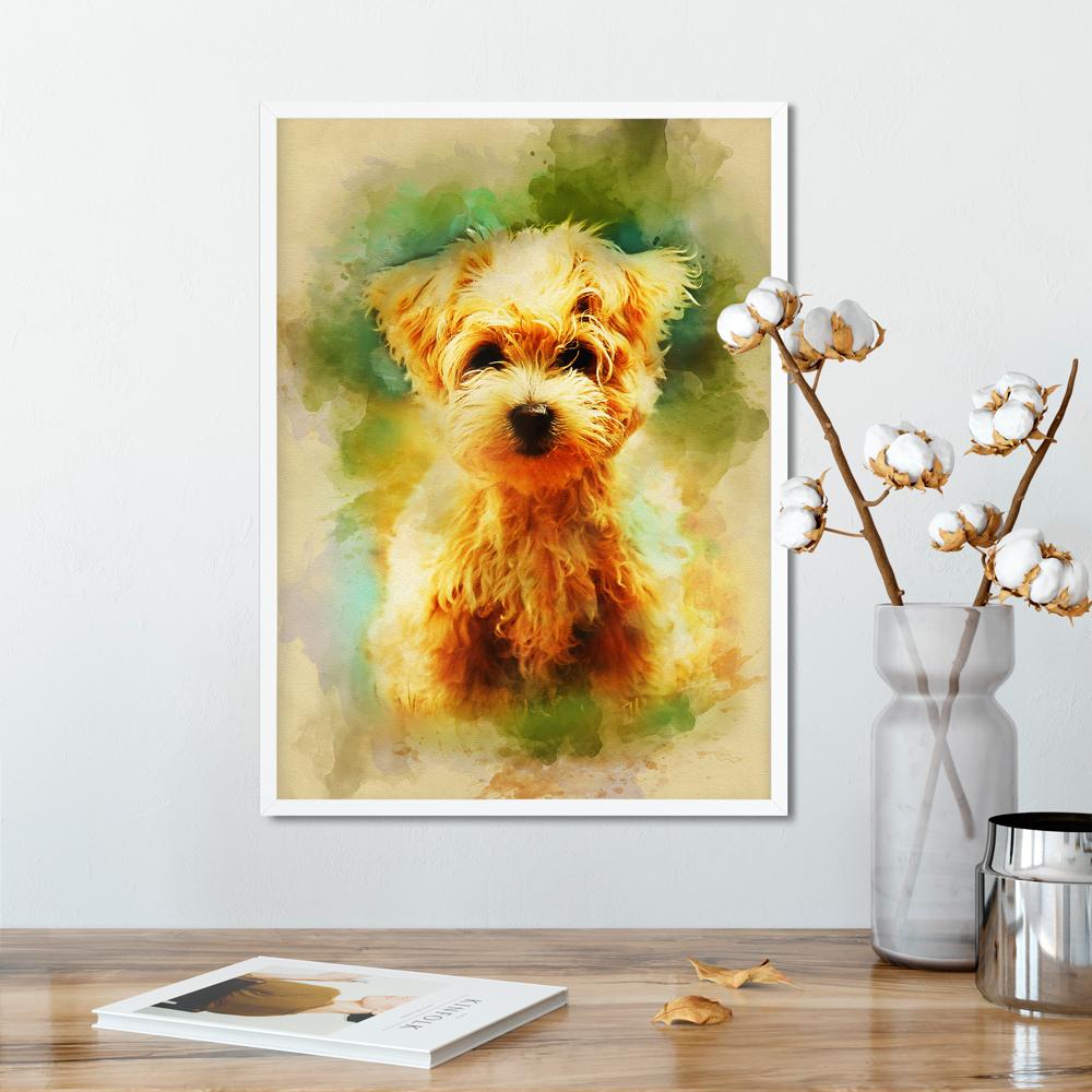Maltese puppy print, pet dog poster, Watercolor wall art, Rustic ...