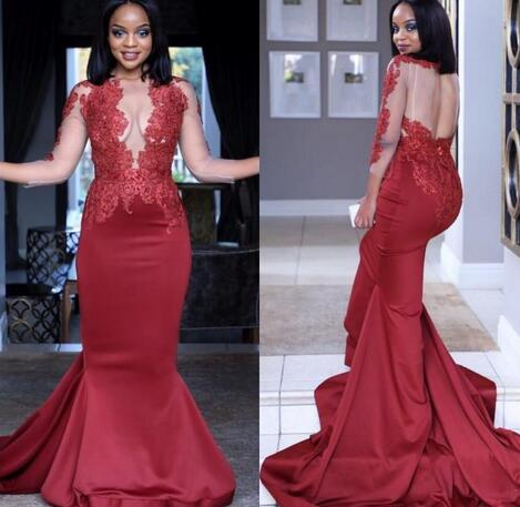 Burgundy Mermaid Prom Dresses Long African Black Grils Plus Size Long  Sleeve Party Evening Gowns With Beading from bettybridal