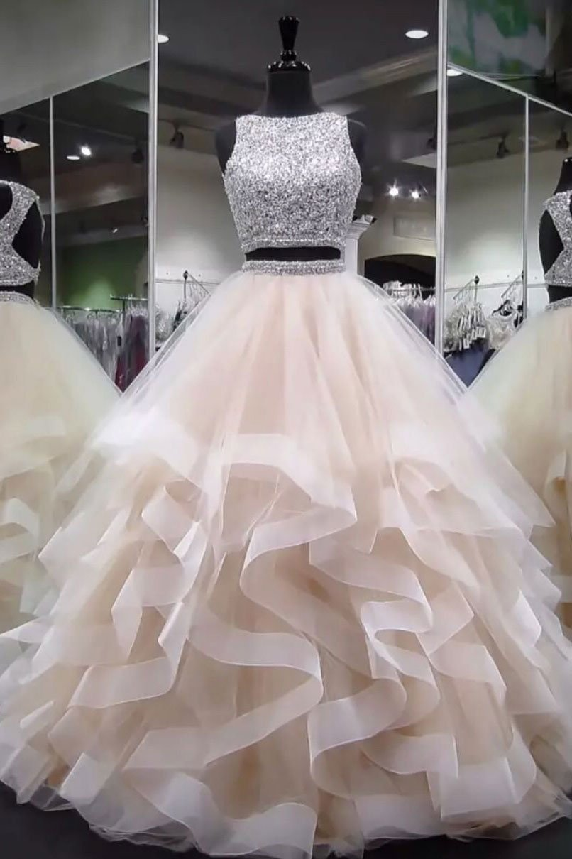 Champagne round neck tulle long prom dress, ball gown · Hot Lady ...