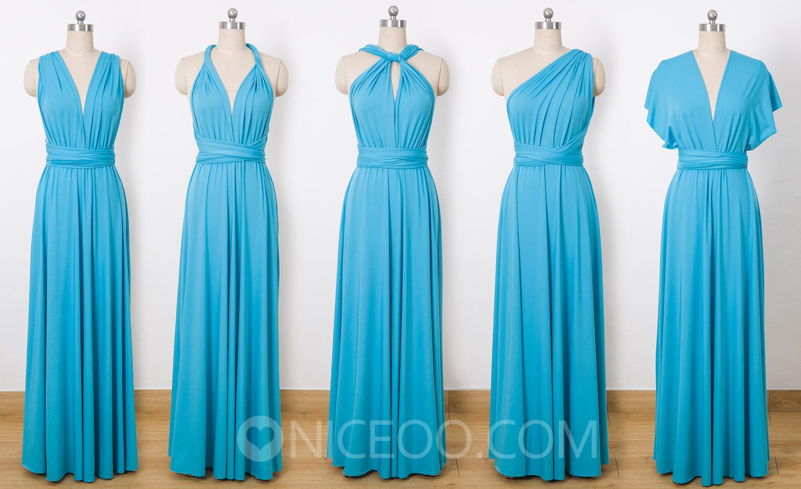 Blue Party Dress, Long Infinity Dress, Infinity Wrap Dress ...