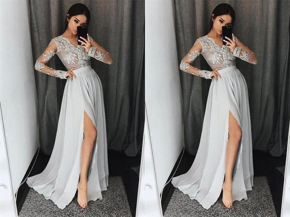 Ivory prom dress long sleeve lace appliques beaded v neck high