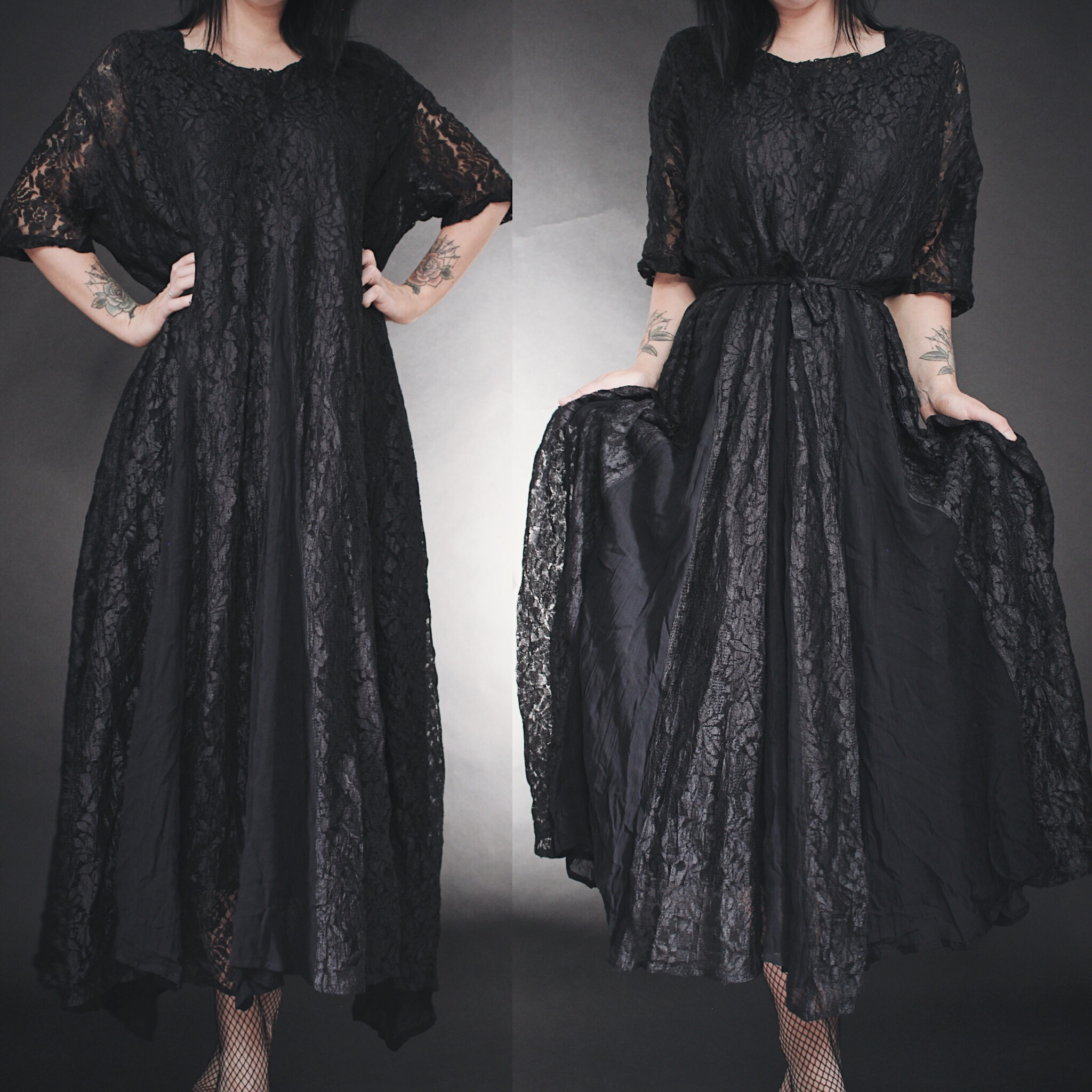 RESERVED FOR RACHEL - Vintage 90s Oversize Lace Asymmetrical Witch ...