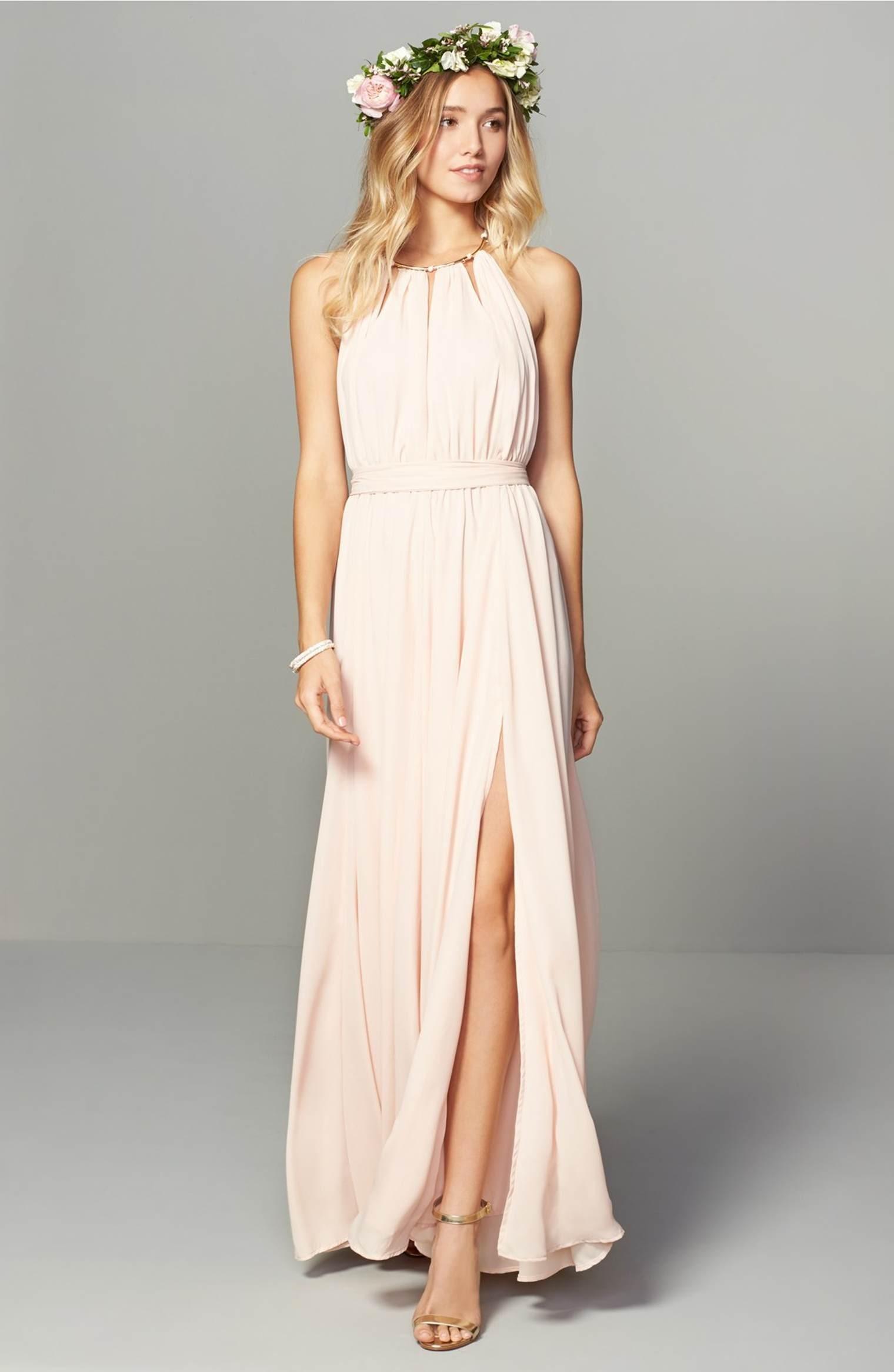 Cute Blush Pink Chiffon Long Bridesmaid Dresses,Halter Sleeveless ...