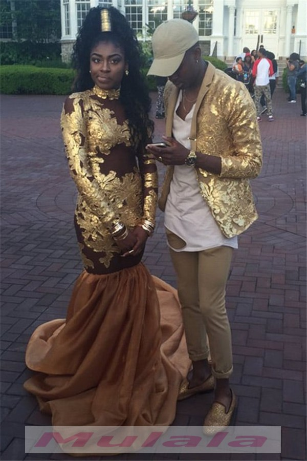 Gold Lace Appliques Black Girl Prom Dresses Long Sleeves