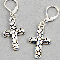 Silver Dotted Cross Earrings (ON SALE)