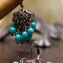 Aqua Turq Gunmetal Filigree and Turquoise Earrings