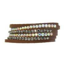 LEATHER, 4 CRYSTAL ROW SNAP BRACELET