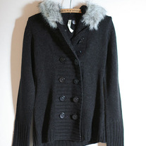 Black Cardigan with Faux Fur Hood (Brand New)