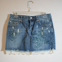 Printed Denim Skirt with Lace