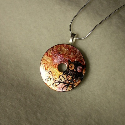 Patriotic red white and blue washer pendant necklace two cheeky owl on fall colors washer pendant necklace thumbnail 3 aloadofball Choice Image