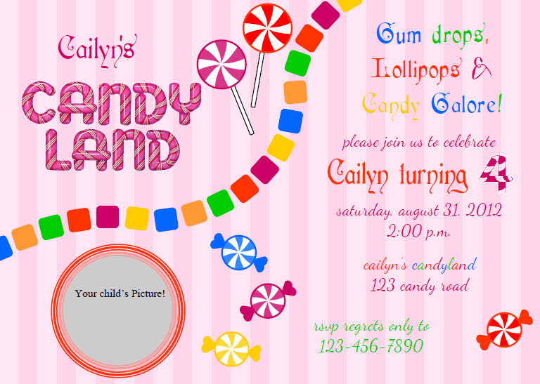 Candyland Birthday Party Invitations Printable