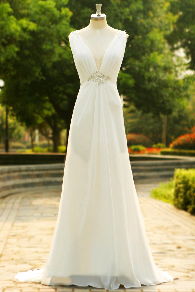 Handmade Simple White Beaded Backless Lace Applique Wedding Dresses