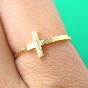 Simple Sideways Cross Shaped Ring in Gold in Size 6 Only