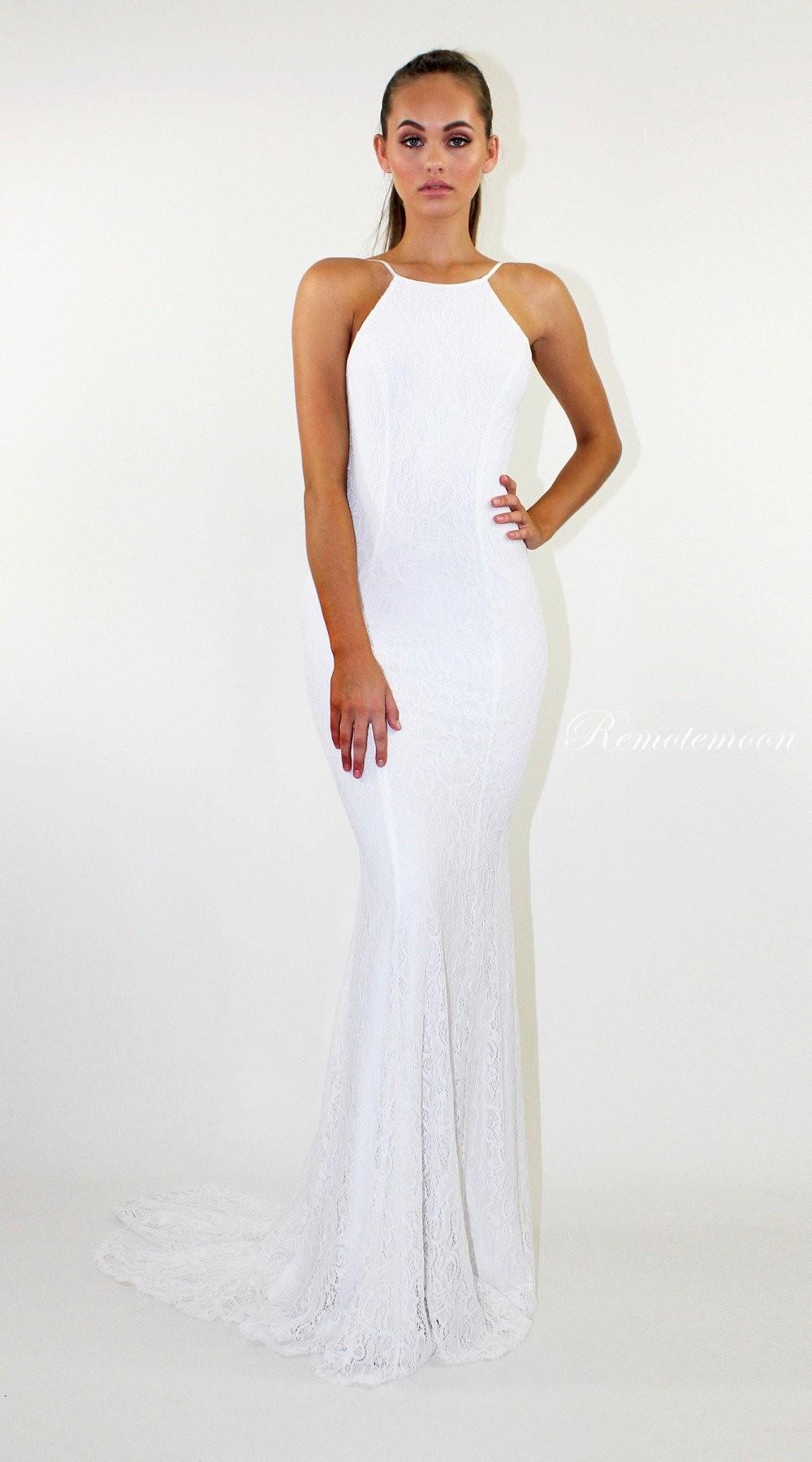 White Lace Backless Mermaid Wedding Dress Halter Neckline Low Cut Back Boho Beach Dresses 2018: White Lace Backless Wedding Dress At Reisefeber.org