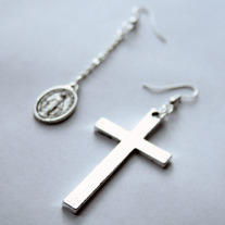 """Religion"" Large Silver Cross Earrings"